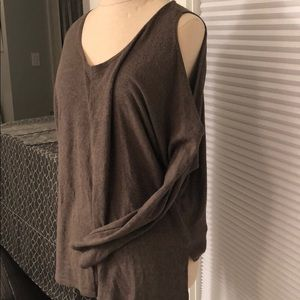 NEVER WORN Olive Sweater with Cut-out Shoulders